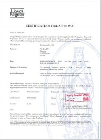 Passive fire protection testing and certification - Benarx